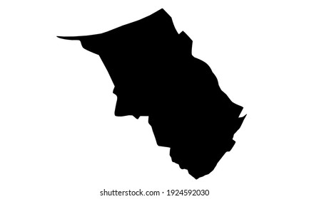 black silhouette of Brunei's Belait District provincial map on white background