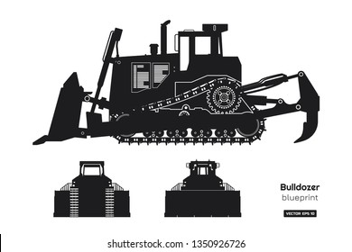 Black silhouette of bulldozer. Front, side and back view of digger. Building machinery image. Industrial isolated drawing of dozer. Diesel vehicle blueprint. Vector illustration