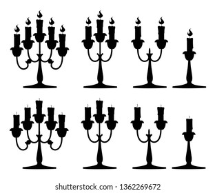 Black silhouette. Candles in candlesticks set. Silver candelabra with red burning candles. Flat vector illustration isolated on white background.