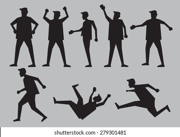 Black silhouette for cartoon man in different gestures and body language. Vector character illustration isolated on plain grey background.