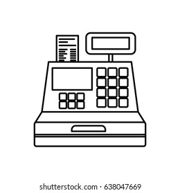 black silhouette of cash register vector illustration