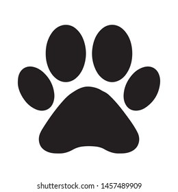 Black silhouette of a cat or dog paw footprint, isolated on white background