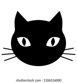 black silhouette of a cat head on a white background