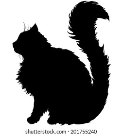 black silhouette of a cat with a long fluffy plush tail, white background