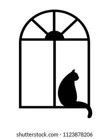 Black silhouette of the cat in the window isolated on white background.