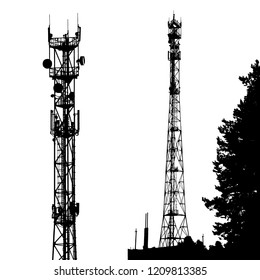 Black silhouette cell phone tower isolated on white background. Vector EPS10