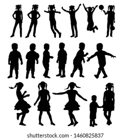 black silhouette child boy and girl set