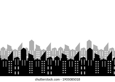 black silhouette of city on white, group of houses, vector icon, element for design