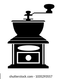 Black silhouette classic coffee grinder manual coffee mill vector illustration isolated on white background