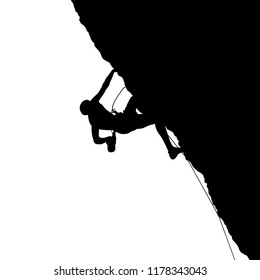 Black silhouette of a climber on a cliff isolated on a white background. Vector illustration