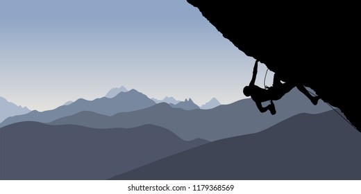 Black silhouette of a climber on a cliff with mountains as a background. Vector illustration