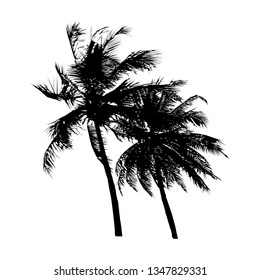 black silhouette coconut tree swayed by the wind, isolated natural plant sign, vector illustration