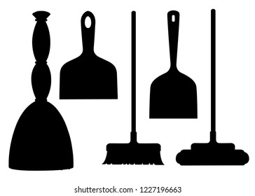 Black silhouette. Collection of household cleaning utensil. Broom, mop, scoop. Flat vector illustration isolated on white background.