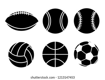 Black silhouette. Collection of sport balls. Line style icon design. Flat vector illustration isolated on white background