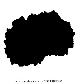 black silhouette country borders map of Macedonia on white background of vector illustration