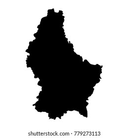 black silhouette country borders map of Luxembourg on white background of vector illustration