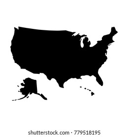 black silhouette country borders map of United States of America on white background of vector illustration