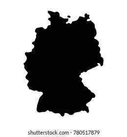 black silhouette country borders map of Germany on white background of vector illustration