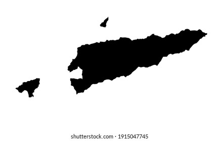 black silhouette of country map of timor leste on white background