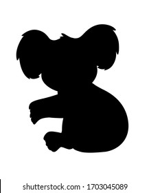 Black silhouette cute koala bear sit on the ground and looking at you cartoon animal design flat vector illustration isolated on white background