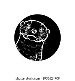 Black silhouette of cute otter (head) in black circle. Vector illustration.