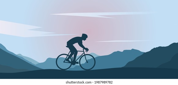 Black silhouette of a cyclist on a background of mountains and pink sunrise.  A man on a bicycle in a helmet travels on a background of mountains.  Recreation.  Beautiful landscape.  Flat vector - Shutterstock ID 1987989782