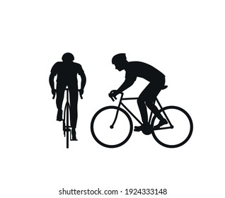 Black silhouette of a cyclist on a white background. Front view and side view. Man on a bicycle in a helmet. Silhouette. Flat vector illustration.