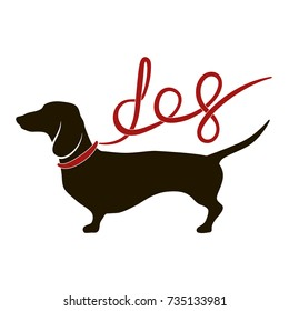 Black silhouette of dachshund with red lead (ribbon) in shape of lettering dog. Vector illustration, logo, icon, isolated on white background