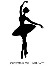 Black silhouette of a dancing ballerina.