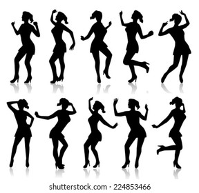 Black silhouette of dancing woman on a white background