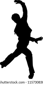 a black silhouette of dancing youth is in the pose of dance
