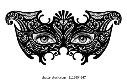 Black silhouette of a decorative carnival Venetian mask with female eyes isolated on white. Vector illustration