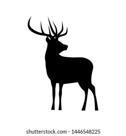 Black silhouette of a deer. Animal icon vector
