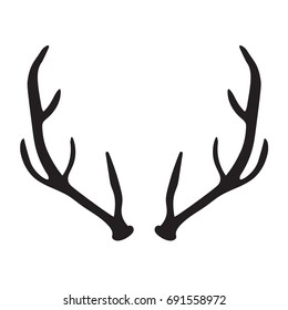 black silhouette of deer antlers- vector illustration