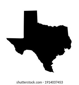 black silhouette design of Texas state map on white background