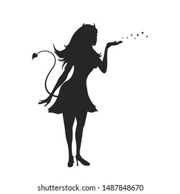Black silhouette of devil girl. Halloween party. Isolated image of evil woman. Glamour lady on white background. Vector illustration