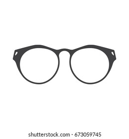 Black silhouette of dioptric glasses for reading, isolated on white background.