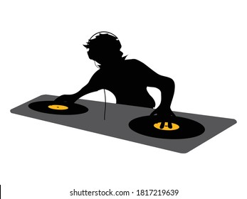 Black Silhouette Of DJ With Headphone Working On A Double Deck With Vinyl Discs Over White Background
