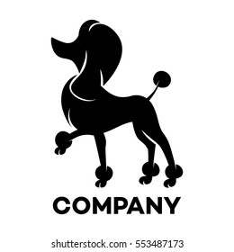 The black silhouette of the dog breed poodle logo