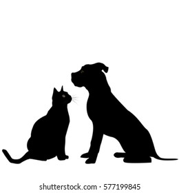 Black silhouette of dog and cat