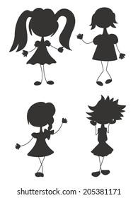 black silhouette doodle girl