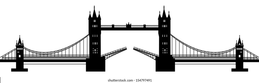 black silhouette of a drawbridge on a white background