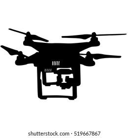 Black silhouette drone quadrocopter a vector illustration.