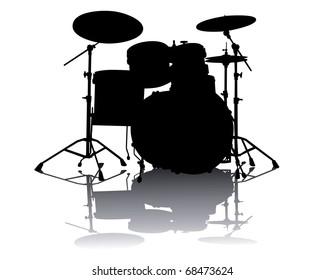 Black silhouette of drum-type installation