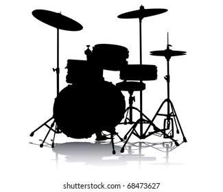 Black silhouette drum-type installation