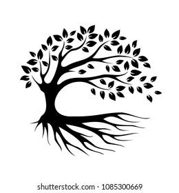 black silhouette eco tree vector icon, bio logo, garden sign, forest symbol