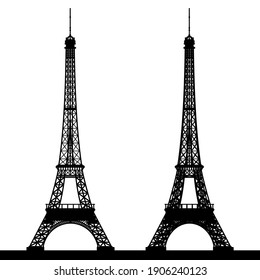 Black silhouette of the Eiffel Tower on a white background. Vector illustration.