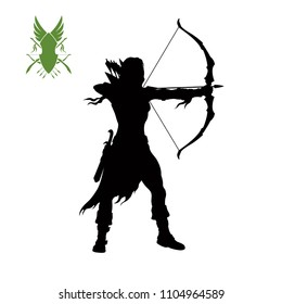 Black silhouette of elven archer with bow. Fantasy character. Games icon of scout with weapon. Isolated drawing of archery. Vector illustration