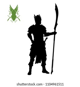 Black silhouette of elven knight with spear . Fantasy character. Games icon of elf with weapon. Isolated drawing of warrior. Vector illustration