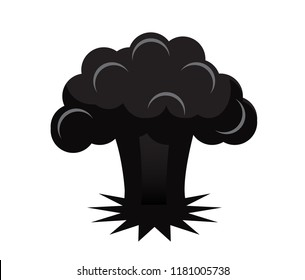black silhouette explosion of an atomic bomb on a white background